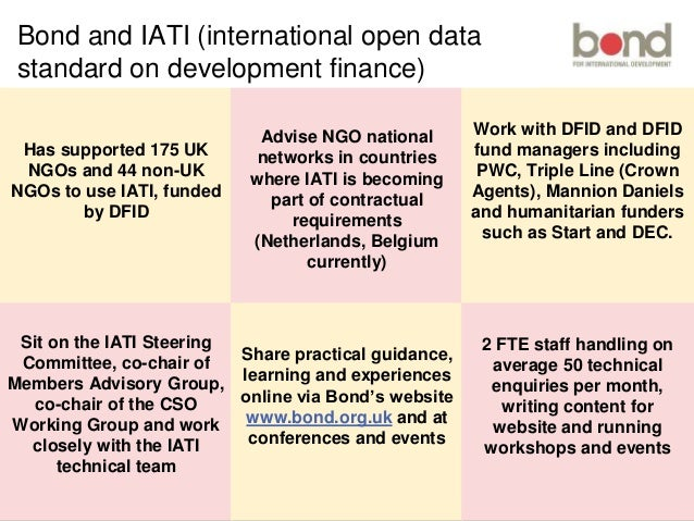 bond.org.uk Bond? Has supported 175 UK NGOs and 44 non-UK NGOs to use IATI, funded by DFID Sit on the IATI Steering Commit...