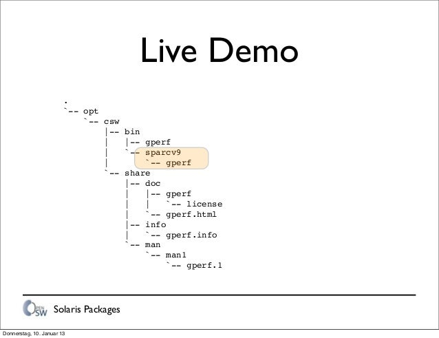 Solaris Packages Live Demo . `-- opt `-- csw |-- bin | |-- gperf | `-- sparcv9 | `-- gperf `-- share |-- doc | |-- gperf |...
