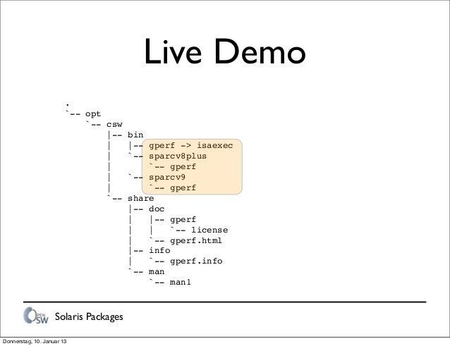 Solaris Packages Live Demo . `-- opt `-- csw |-- bin | |-- gperf -> isaexec | `-- sparcv8plus | `-- gperf | `-- sparcv9 | ...
