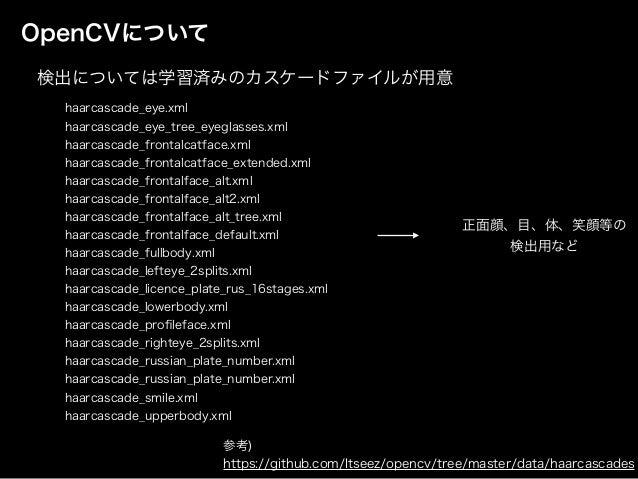 OpenCVについて haarcascade_eye.xml haarcascade_eye_tree_eyeglasses.xml haarcascade_frontalcatface.xml haarcascade_frontalcatfa...