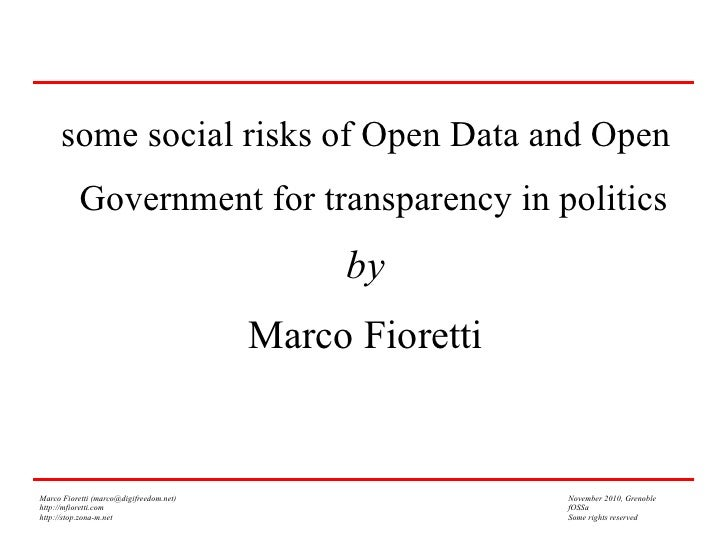 some social risks of Open Data and Open           Government for transparency in politics                                 ...