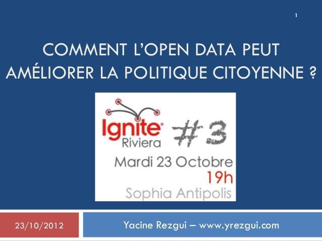 COMMENT L'OPEN DATA PEUTAMÉLIORER LA POLITIQUE CITOYENNE ?Yacine Rezgui – www.yrezgui.com23/10/20121