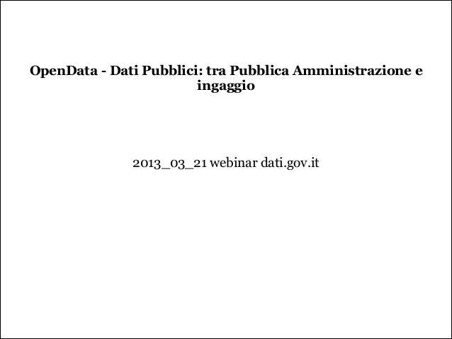 OpenData - Dati Pubblici: tra Pubblica Amministrazione e                        ingaggio                                  ...