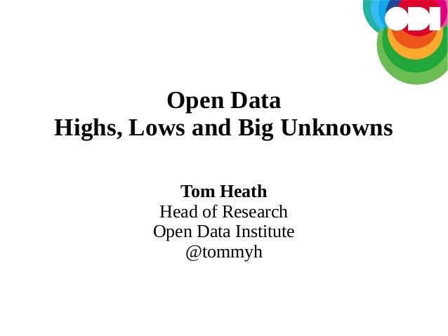 Open Data Highs, Lows and Big Unknowns Tom Heath Head of Research Open Data Institute @tommyh