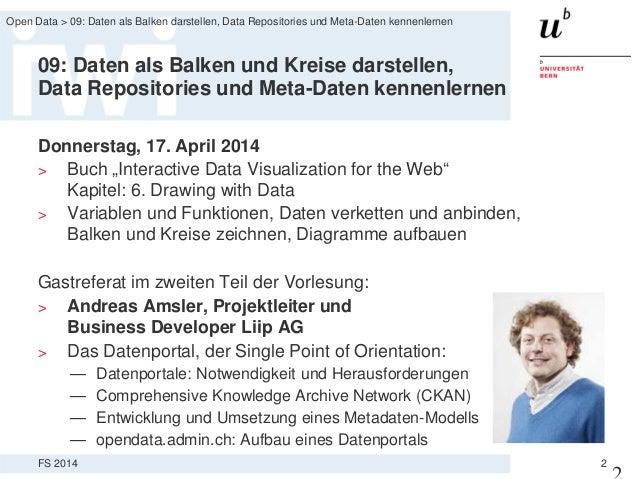 Open Data Vorlesung Termin 9: Daten als Balken darstellen, Data Repositories und Meta-Daten kennenlernen Slide 2