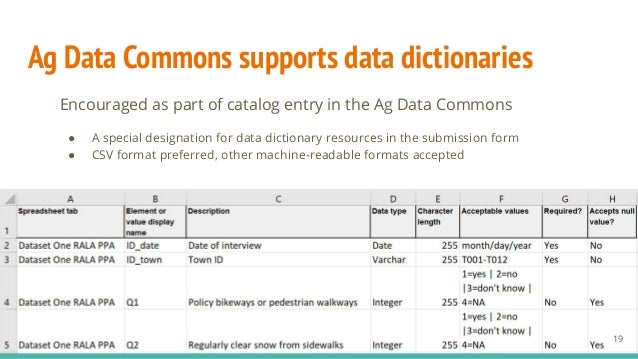 Ag Data Commons supports data dictionaries Encouraged as part of catalog entry in the Ag Data Commons ● A special designat...