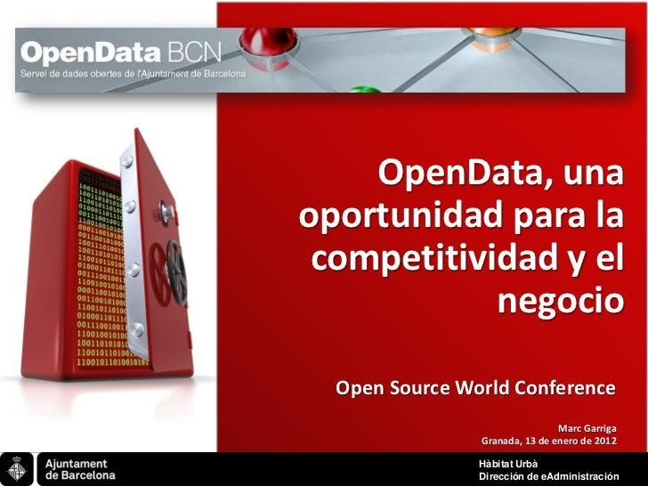 OpenData, una     oportunidad para la      competitividad y el                 negocio       Open Source World Conference ...