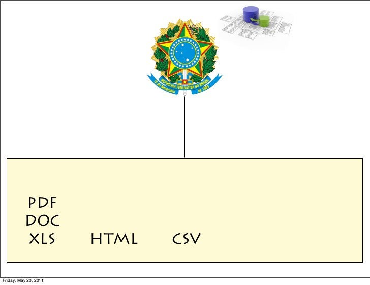 PDF          DOC          XLS          HTML   CSVFriday, May 20, 2011