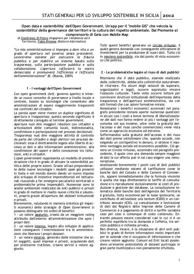 STATI GENERALI PER LO SVILUPPO SOSTENIBILE IN SICILIA 2012    Open data e sostenibilita dellOpen Government. Unapp per il ...