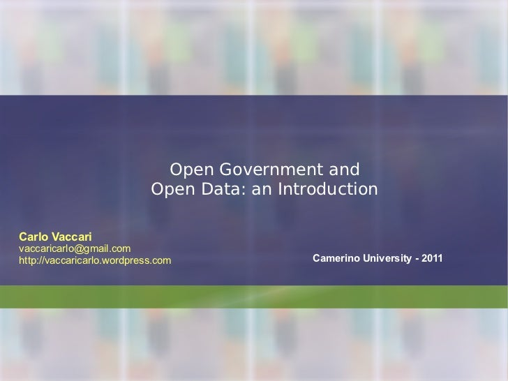 Open Government and Open Data: an Introduction