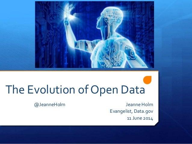 The Evolution of Open Data @JeanneHolm Jeanne Holm Evangelist, Data.gov 11 June 2014