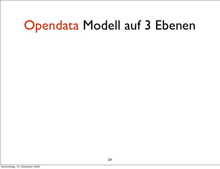Opendata Modell auf 3 Ebenen                                     24 Donnerstag, 10. Dezember 2009
