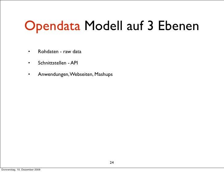 Opendata Modell auf 3 Ebenen                    •       Rohdaten - raw data                     •       Schnittstellen - A...