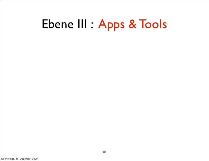Ebene III : Apps & Tools                                                28 Donnerstag, 10. Dezember 2009