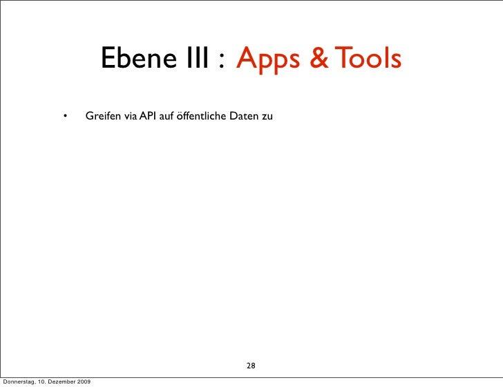 Ebene III : Apps & Tools                    •       Greifen via API auf öffentliche Daten zu                              ...