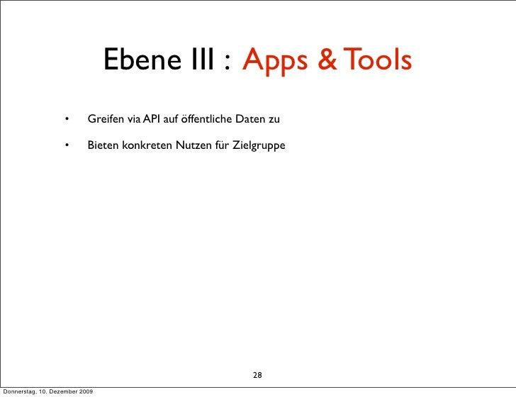 Ebene III : Apps & Tools                    •       Greifen via API auf öffentliche Daten zu                     •       B...