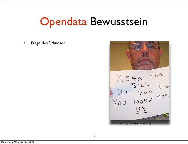 """Opendata Bewusstsein                    •      Frage des """"Mindset""""                                                        ..."""