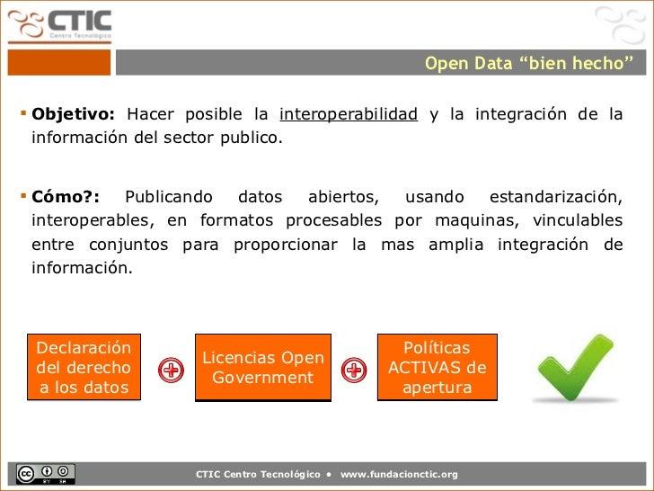"""Open Data """"bien hecho"""" Objetivo: Hacer posible la interoperabilidad y la integración de la  información del sector public..."""