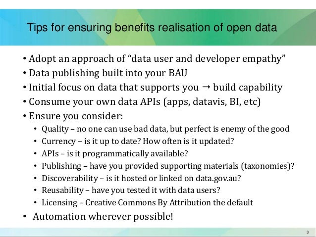 Open data presentation on tools and automation Slide 3