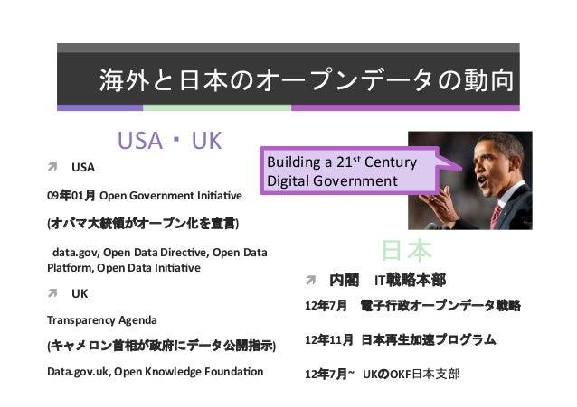 海外と日本のオープンデータの動向   USA・UK   ì USA   09年01月  Open  Government  Ini5a5ve   (オバマ大統領がオープン化を宣言)       data....