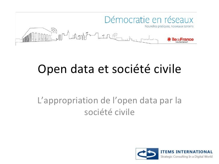Open data et société civile L'appropriation de l'open data par la société civile