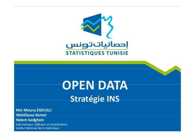 OPEN DATAOPENDATA Stratégie INSStratégieINS MrsMounaZGOULLI Abdellaoui KamelAbdellaouiKamel HatemSedghain Informati...