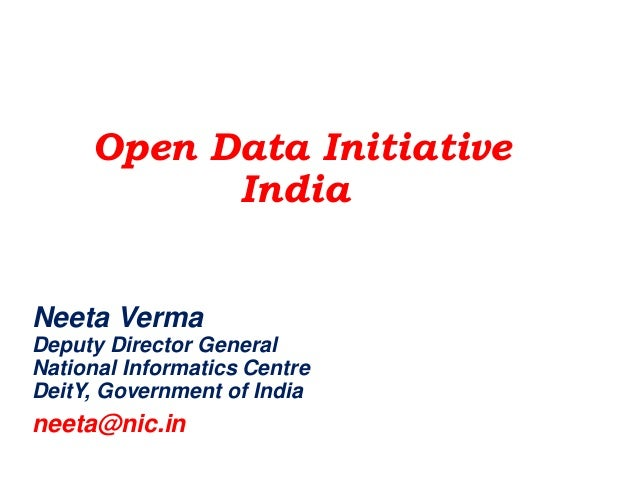 September 2014 Prepared for : Aditya Birla Yarn Version 2 Open Data Initiative India Neeta Verma Deputy Director General N...