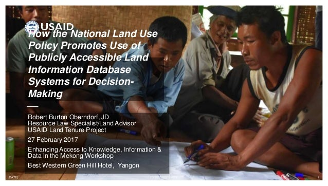 [DATE] FOOTER GOES HERE 1 How the National Land Use Policy Promotes Use of Publicly Accessible Land Information Database S...