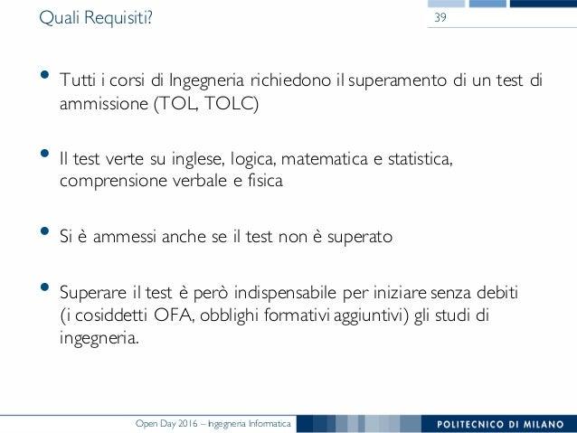 Presentazione open day del politecnico di milano 2016 for Test ammissione politecnico milano
