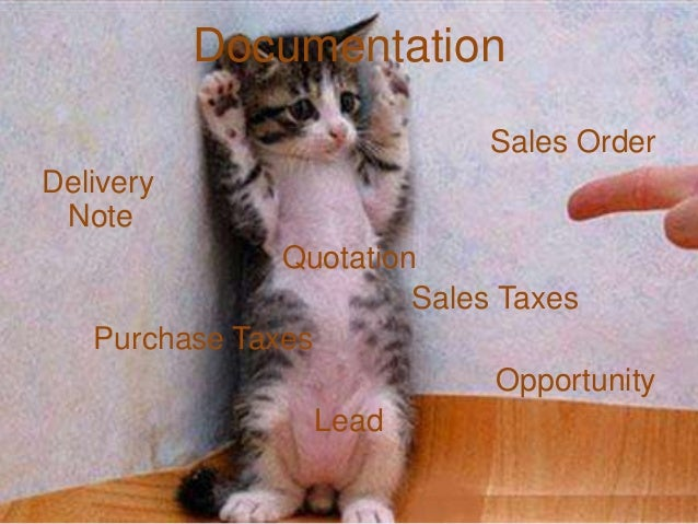 DocumentationSales OrderDeliveryNoteQuotationSales TaxesPurchase TaxesOpportunityLead