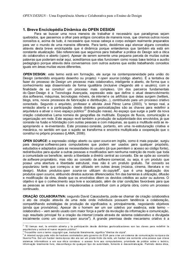 OPEN DESIGN – Uma Experiência Aberta e Colaborativa para o Ensino de Design1. Breve Enciclopédia Dinâmica do OPEN DESIGN  ...