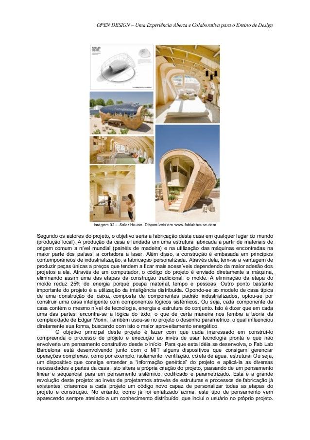 OPEN DESIGN – Uma Experiência Aberta e Colaborativa para o Ensino de Design                        Imagem 02 - Solar House...