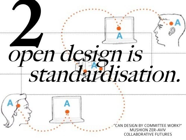 "2open design is  standardisation.           ""CAN DESIGN BY COMMITTEE WORK?""                  MUSHION ZER-AVIV             ..."