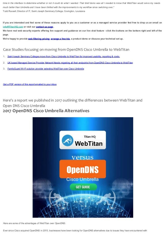 OpenDNS Cisco Umbrella Alternatives for Business 2019