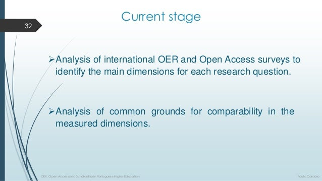Currentstage  AnalysisofinternationalOERandOpenAccesssurveystoidentifythemaindimensionsforeachresearchquestion.  Analysi...