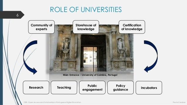 ROLE OF UNIVERSITIES  Main Entrance –University of Coimbra, Portugal  Communityofexperts  Storehouseofknowledge  Certifica...