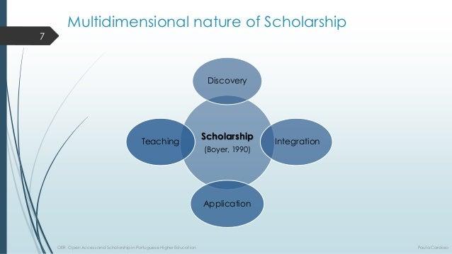 Multidimensional natureofScholarshipScholarship  (Boyer, 1990)  Discovery  Integration  Application  Teaching  7  OER, Ope...