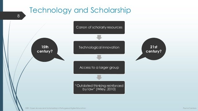 """TechnologyandScholarship  Canon ofscholarlyresources  Technologicalinnovation  Access to a largergroup  """"Outdatedthinkingr..."""