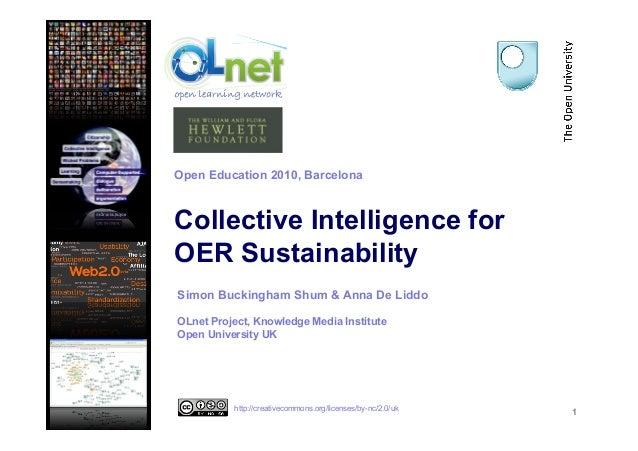 Collective Intelligence for OER Sustainability 1 Simon Buckingham Shum & Anna De Liddo OLnet Project, Knowledge Media Inst...