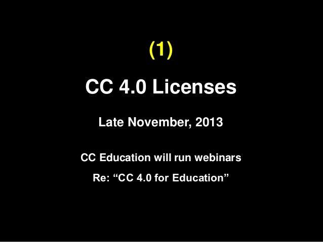 Open Education 2013: CC Update Slide 3