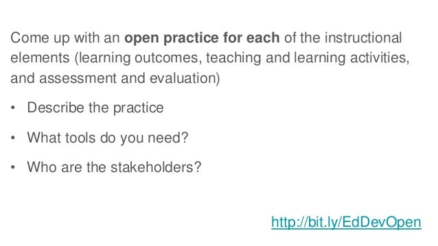 Come up with an open practice for each of the instructional elements (learning outcomes, teaching and learning activities,...