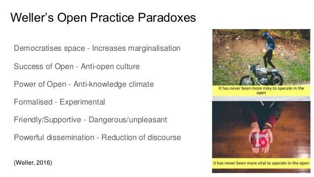 Weller's Open Practice Paradoxes Democratises space - Increases marginalisation Success of Open - Anti-open culture Power ...