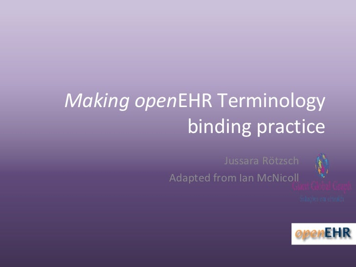 Making openEHR Terminology             binding practice                      Jussara Rötzsch           Adapted from Ian Mc...