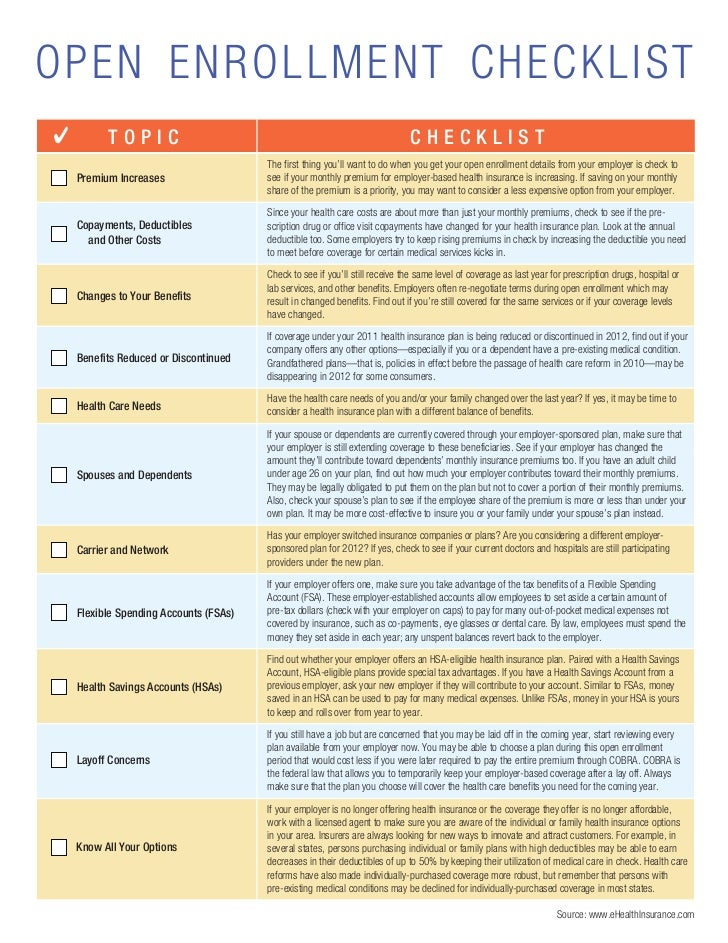 Checklist Open Enrollment Benefits