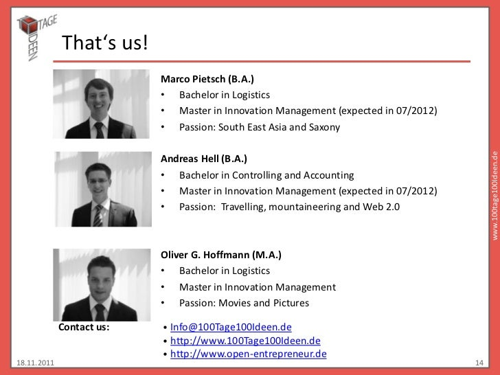 That's us!                           Marco Pietsch (B.A.)                           • Bachelor in Logistics               ...
