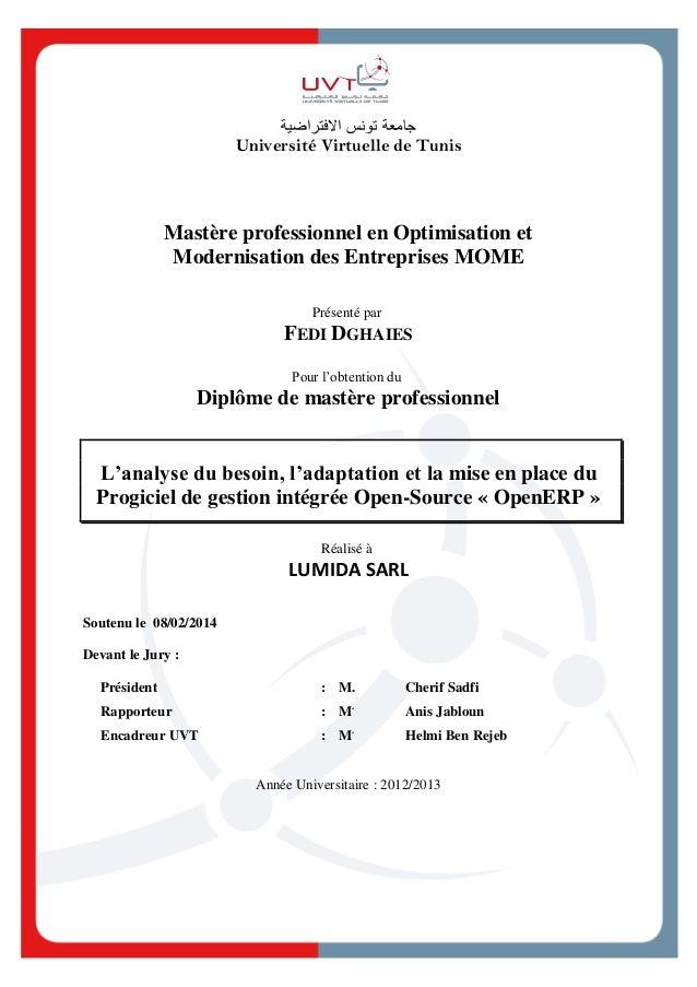 جامعةتونساالفتراضية Université Virtuelle de Tunis Mastère professionnel en Optimisation et Modernisation des Entrepr...