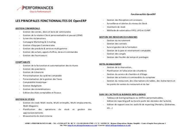 Fonctionnalités OpenERP  LES PRINCIPALES FONCTIONNALITES DE OpenERP  AFRICA PERFORMANCES SARL - Tél.: +225 08 64 97 90 - R...