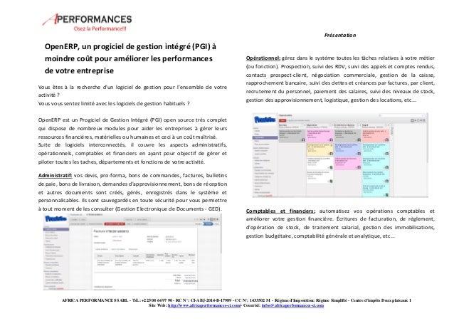 Présentation  OpenERP, un progiciel de gestion intégré (PGI) à  moindre coût pour améliorer les performances  de votre ent...