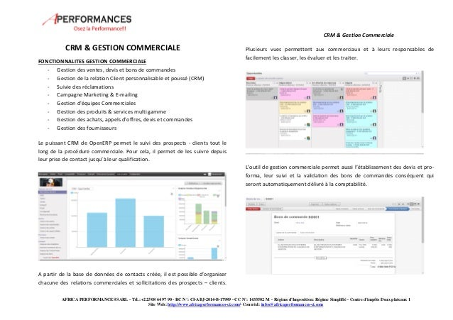 CRM & Gestion Commerciale  AFRICA PERFORMANCES SARL - Tél.: +225 08 64 97 90 - RC N°: CI-ABJ-2014-B-17989 - CC N°: 1433502...