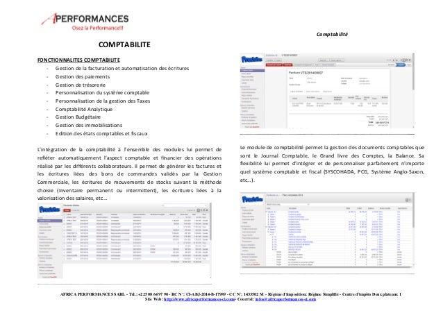 Comptabilité  AFRICA PERFORMANCES SARL - Tél.: +225 08 64 97 90 - RC N°: CI-ABJ-2014-B-17989 - CC N°: 1433502 M - Régime d...